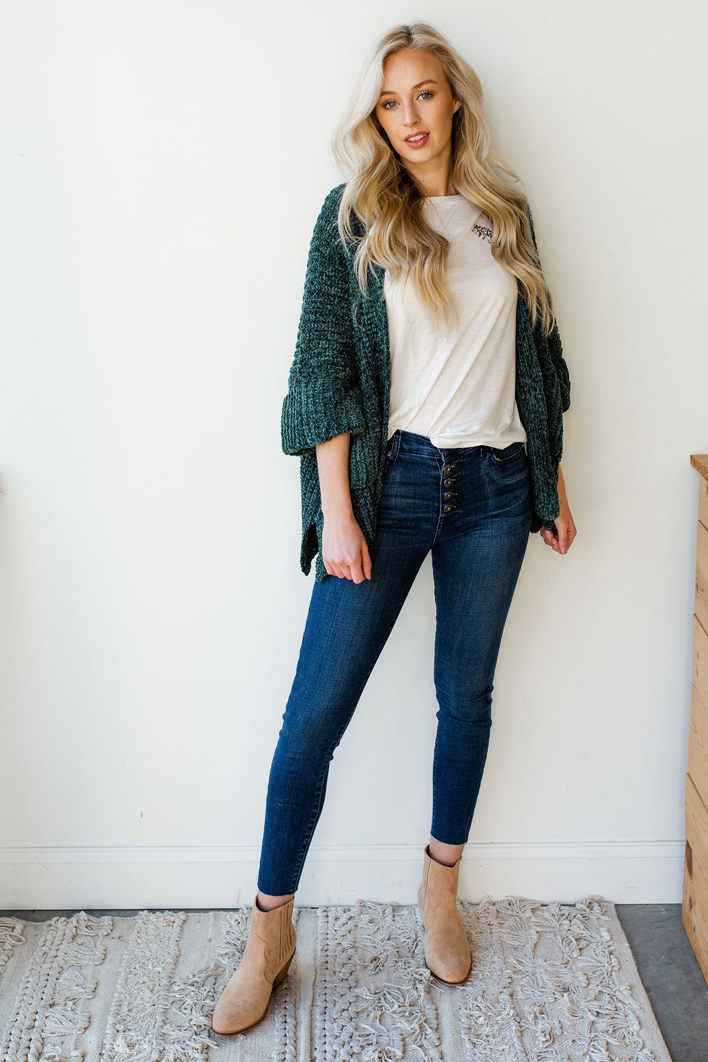 mode, wish you were here slouch cardigan