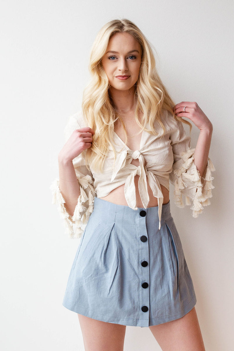 mode, tassel tie front top