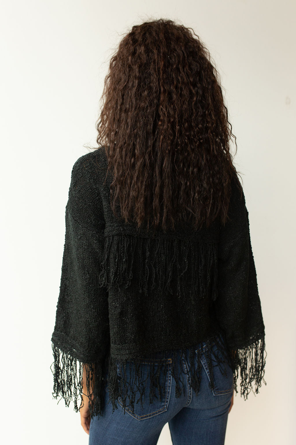 mode, fringe all around sweater