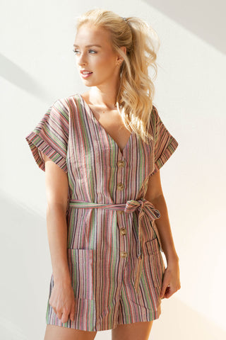 mode, shed the light stripes romper