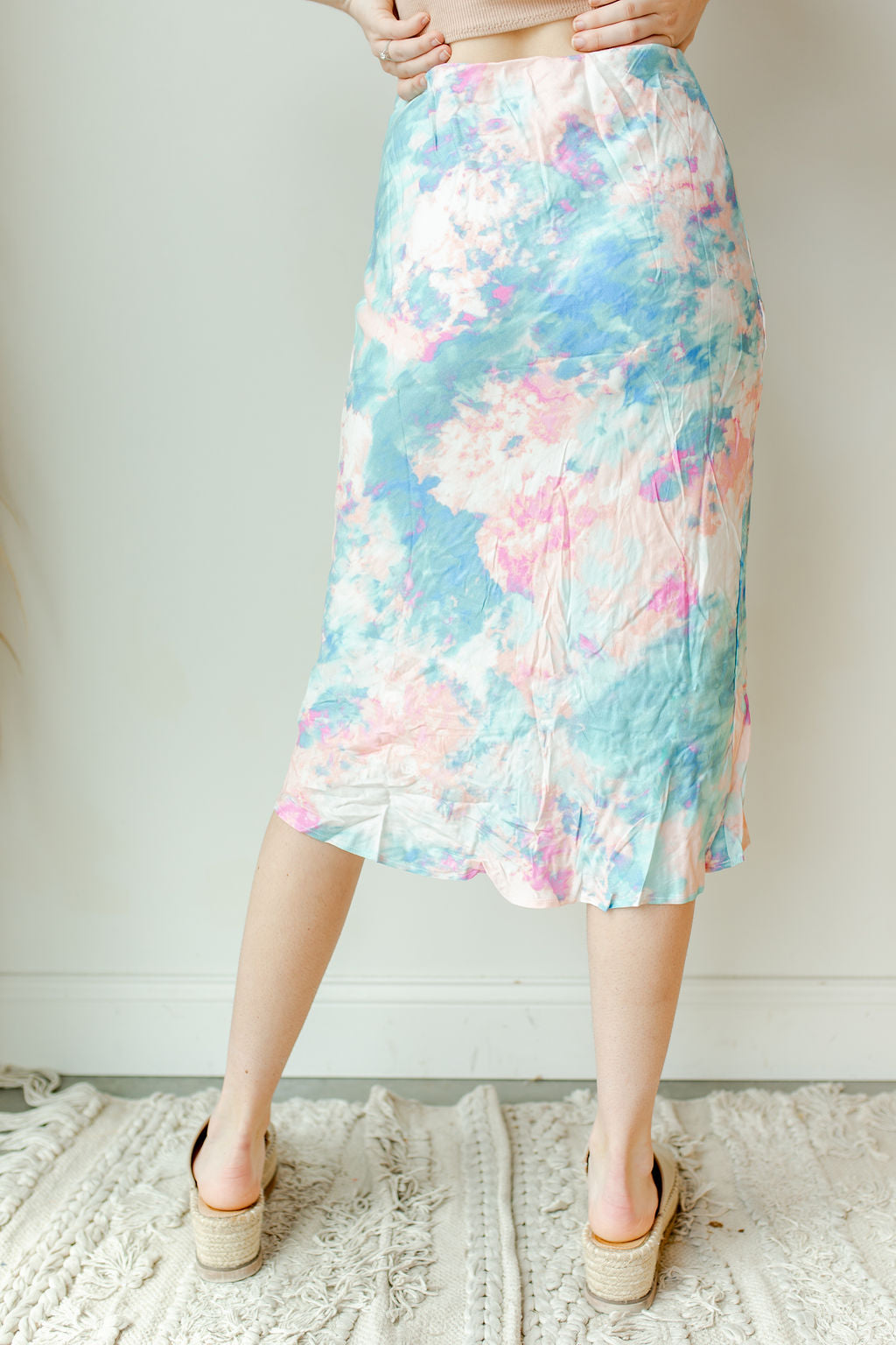 cotton candy midi skirt