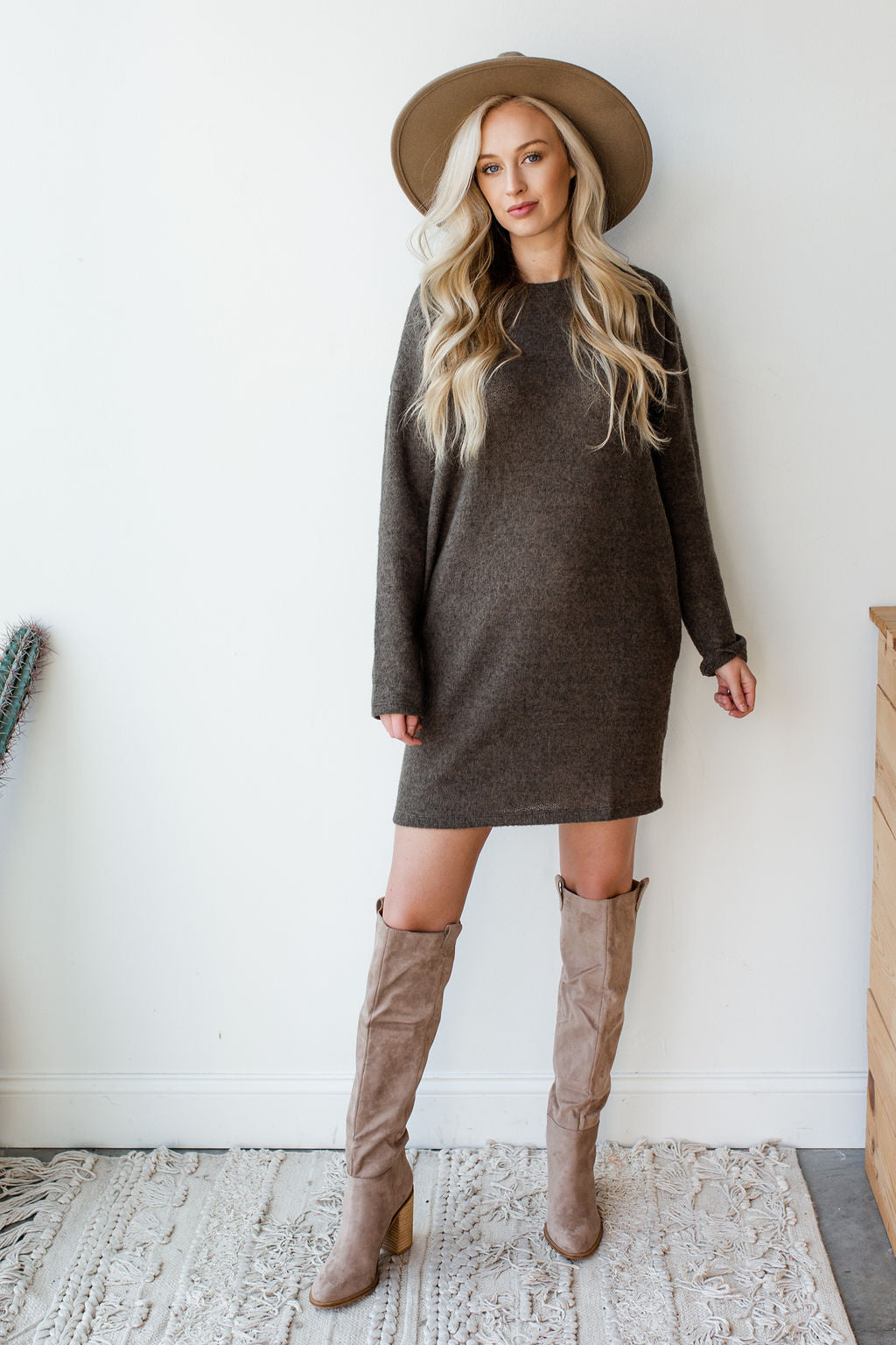 mode, longslv knit sweater dress
