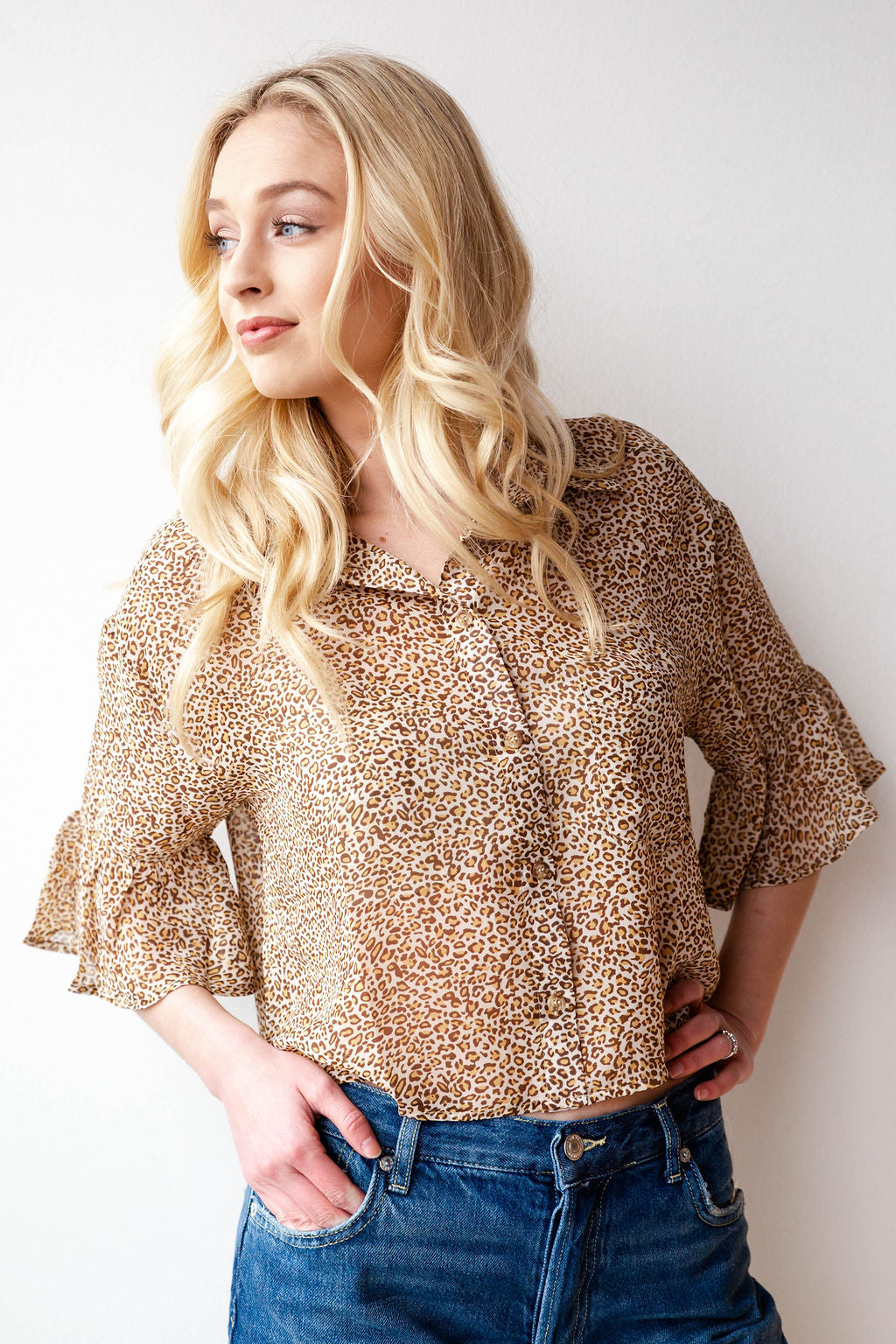 mode, soft + sheer leopard blouse