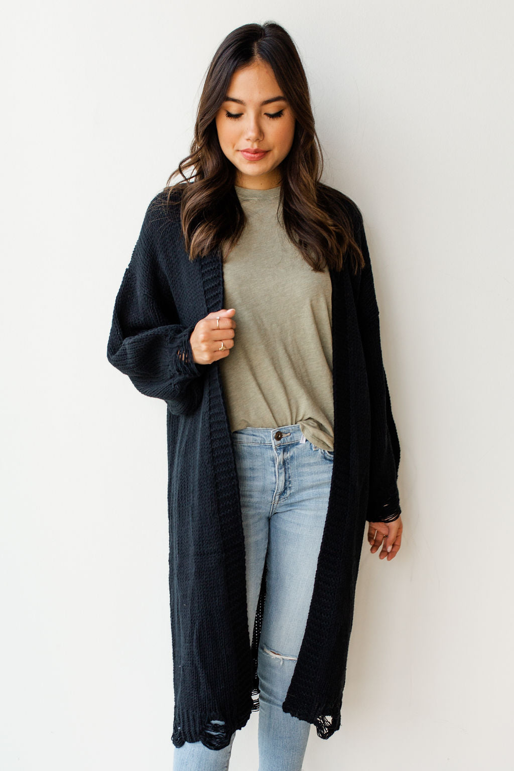 mode, distressed long cardi