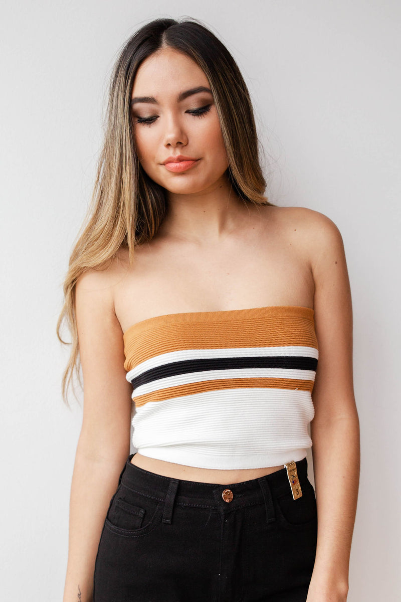 mode, standing stripe tube top