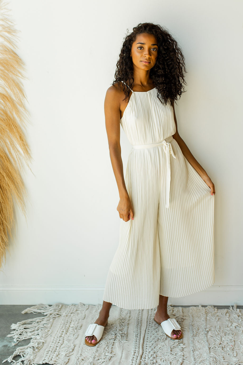 mode, halter pleated jumpsuit