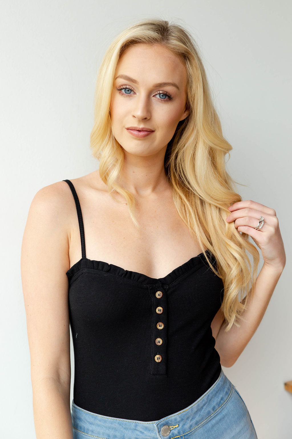 mode, forever young ruffle button bodysuit