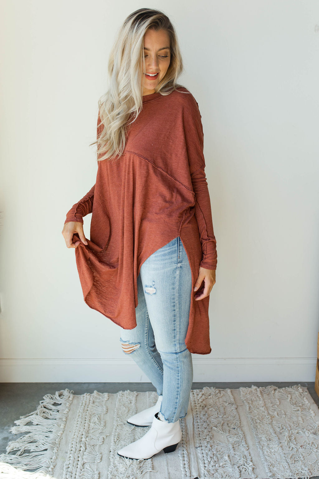 mode, tell tale tunic top