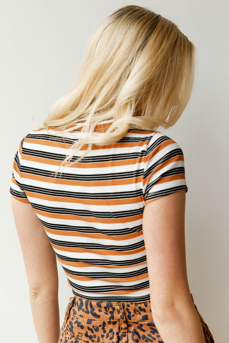 mode, rustic stripe crop top