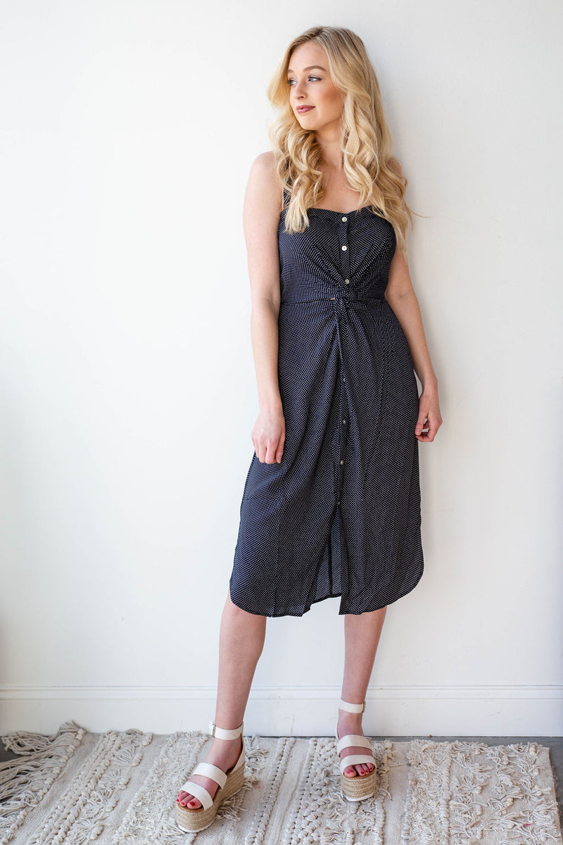 mode, twist front dainty dot dress