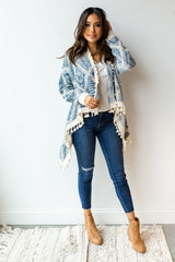 mode, blue skies tassel trim cardigan