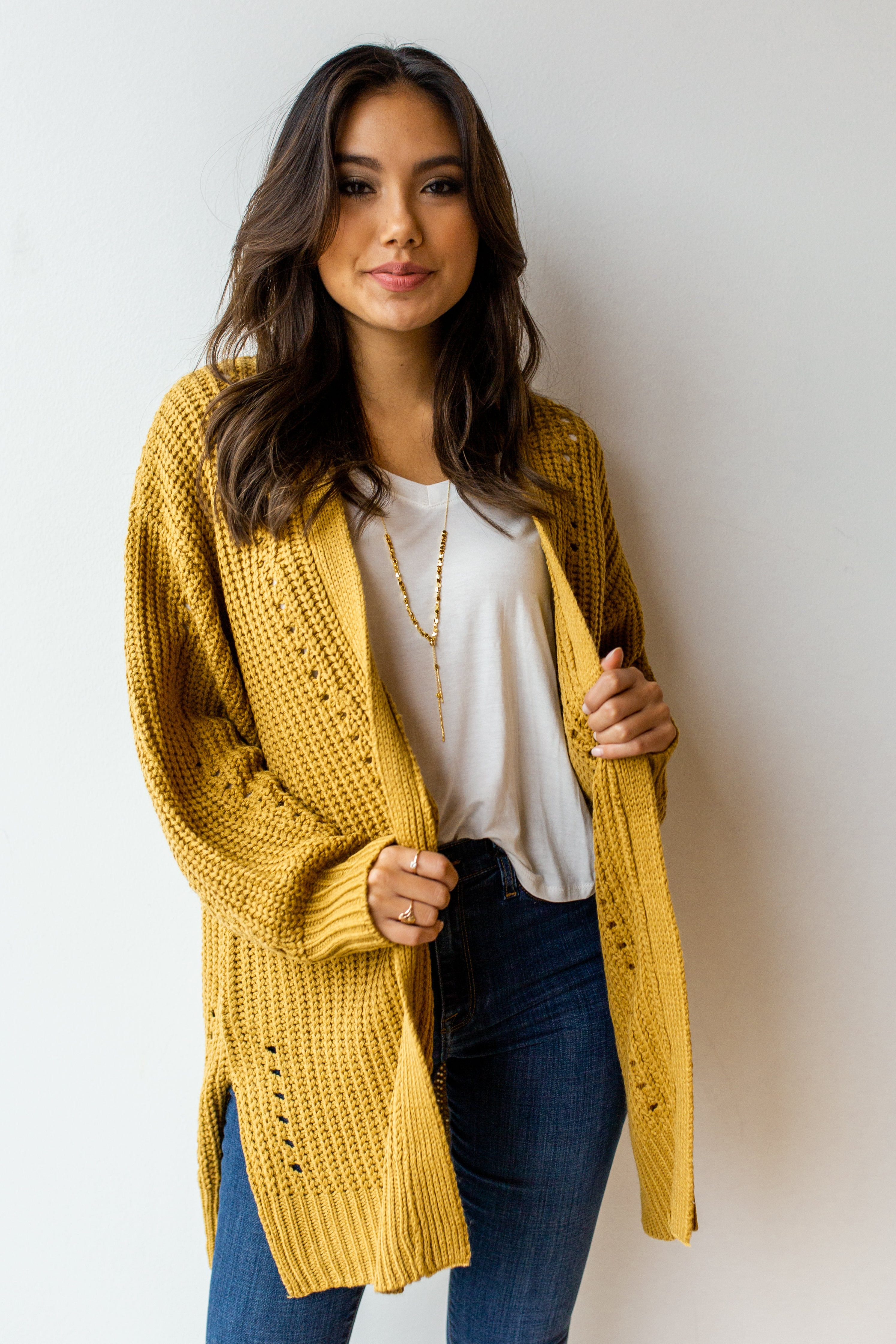 mode, right away chunky knit cardi