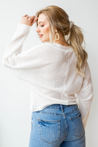 walks by the beach light sweater top
