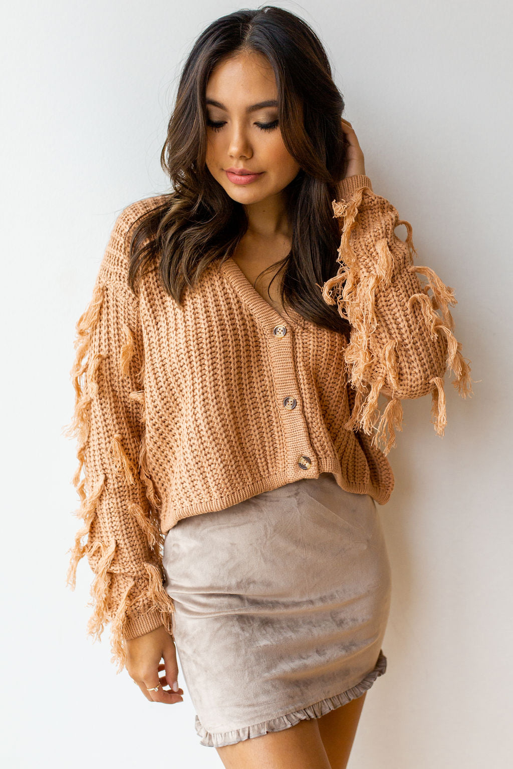 mode, button down fringe cardi