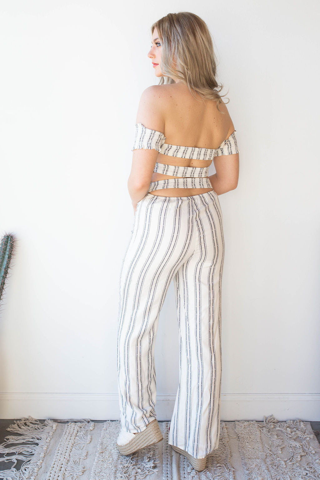 Theory open back, off the shoulder jumpsuit