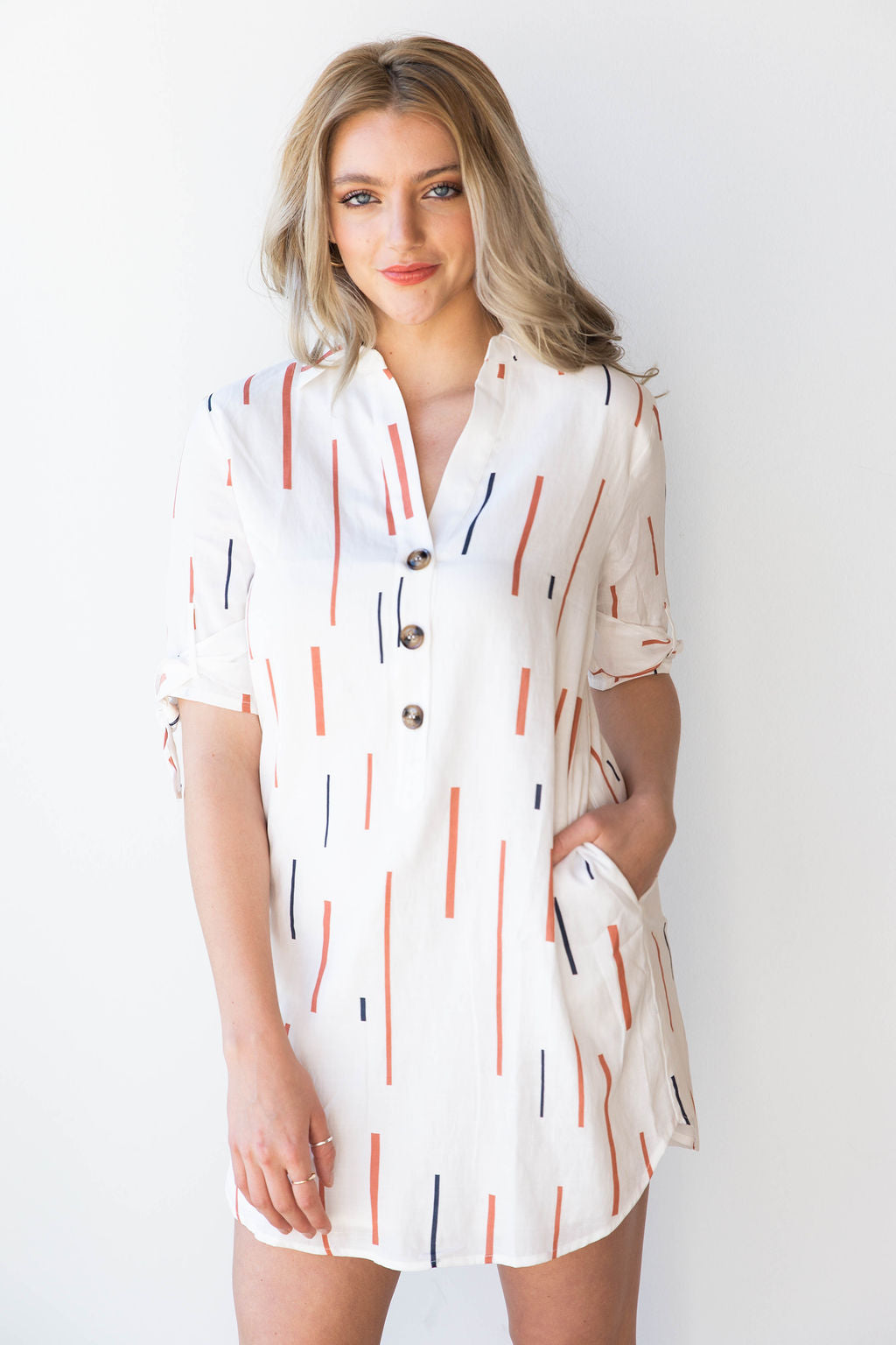 [shop name], tie sleeve shirt dress