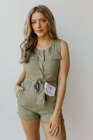 mode, raw hem safari playsuit