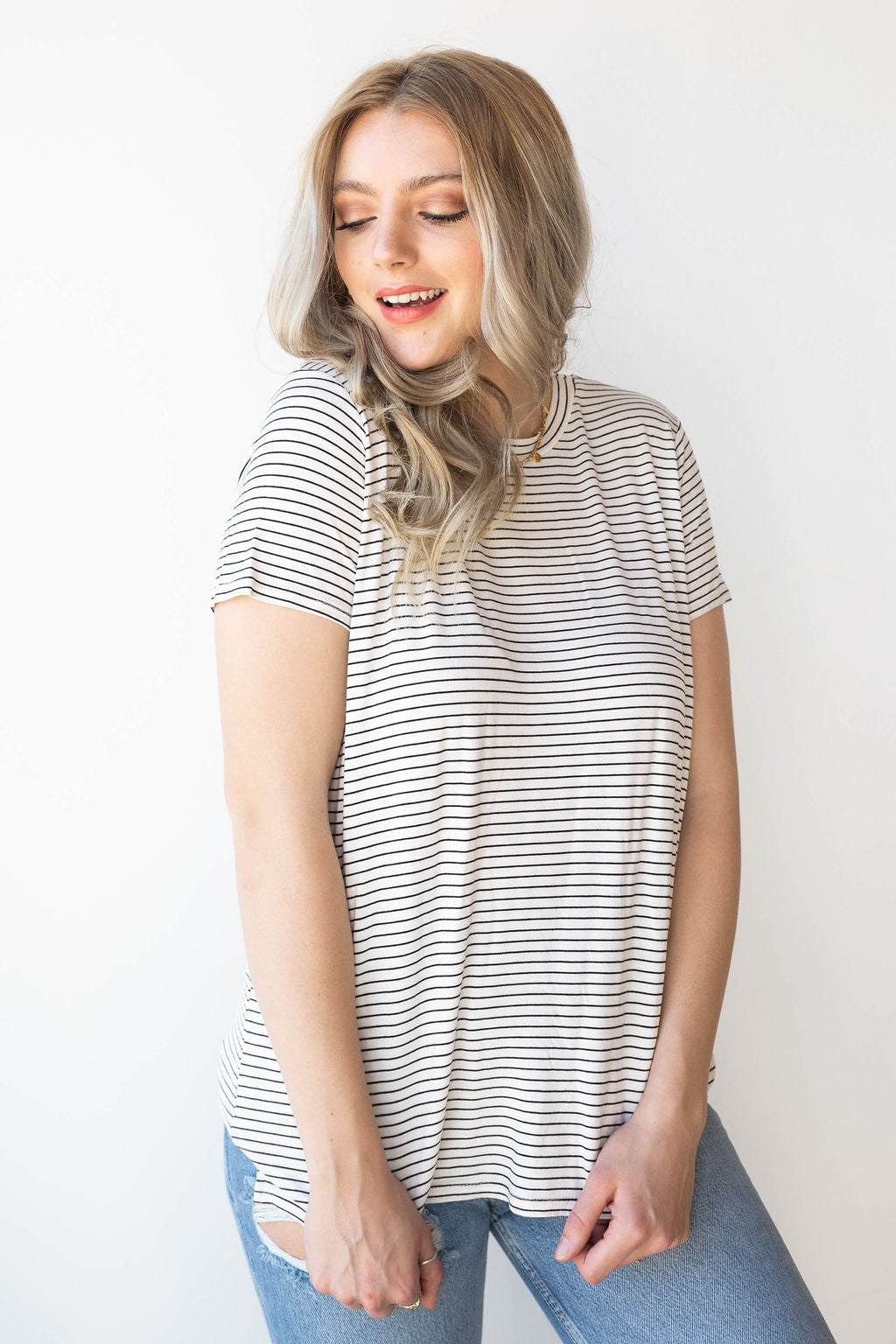 [shop name], getting along nicely stripe tee