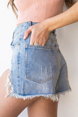 one heart distressed denim shorts