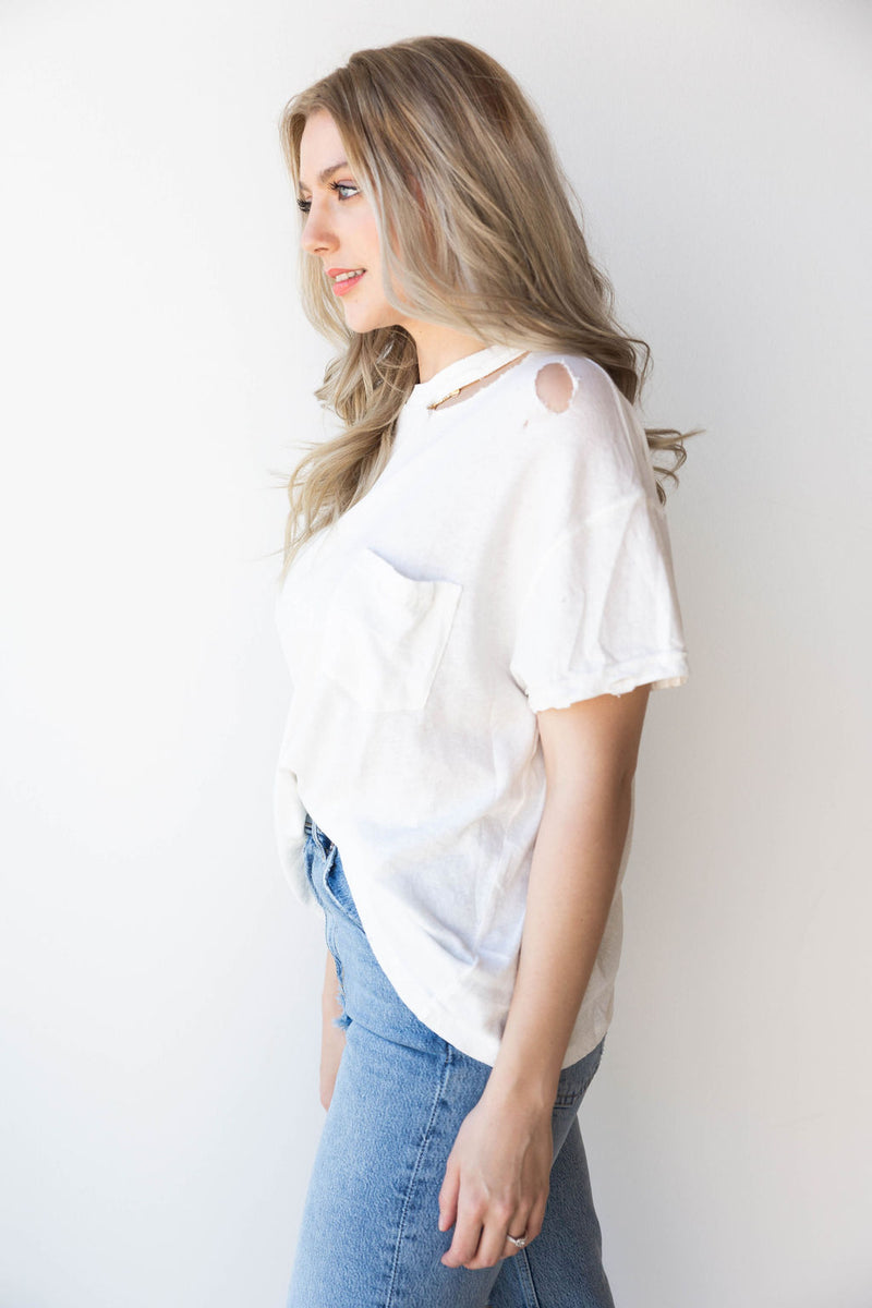 mode, distressed lucky tee