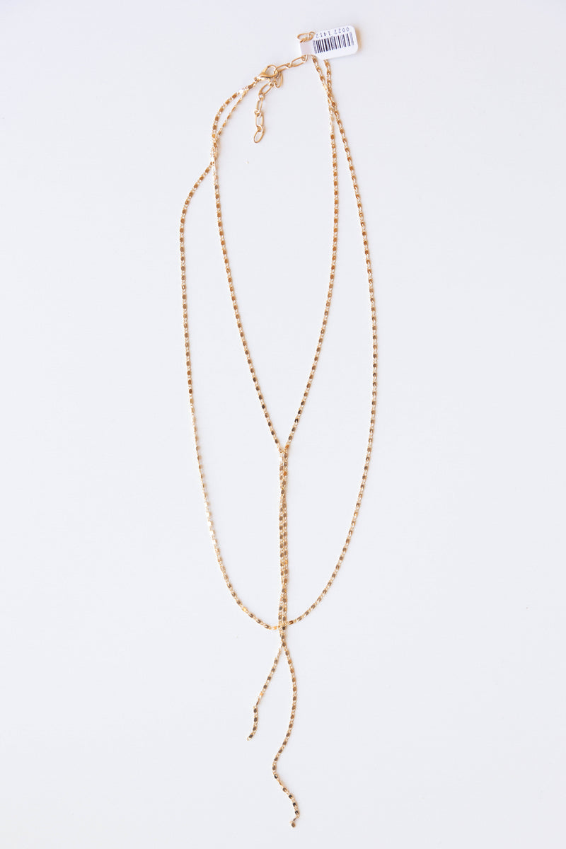 mode, shimmer lariat layers