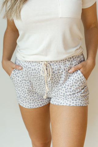 spotted dot drawstring shorts