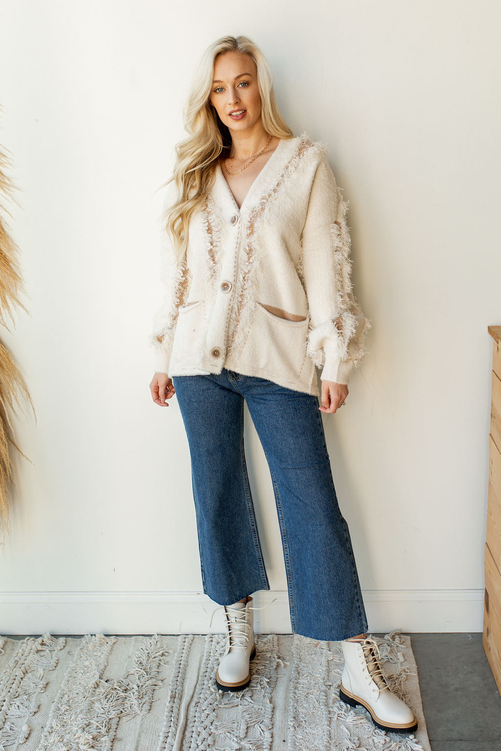 mode, distressed fuzzy cardigan