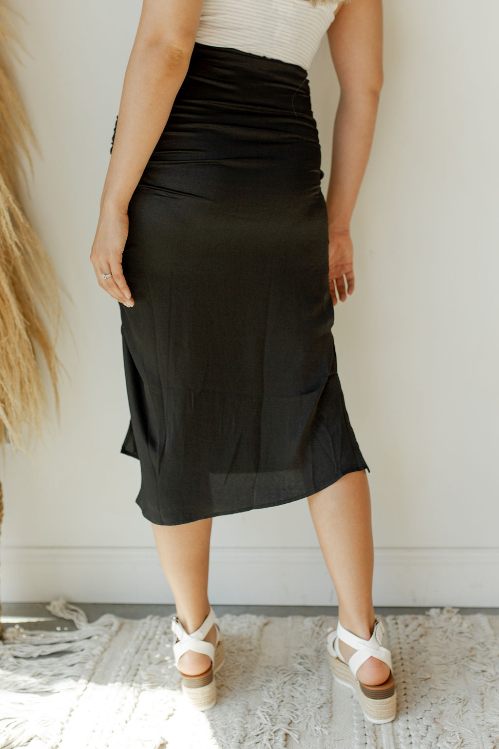 Savannah rouched midi skirt