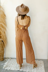 rain drops tie back jumpsuit