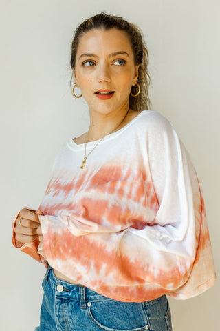 coral paint brush blouse
