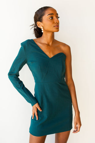 mode, one shoulder dress