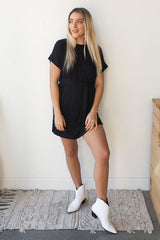 mode, tie front t shirt dress