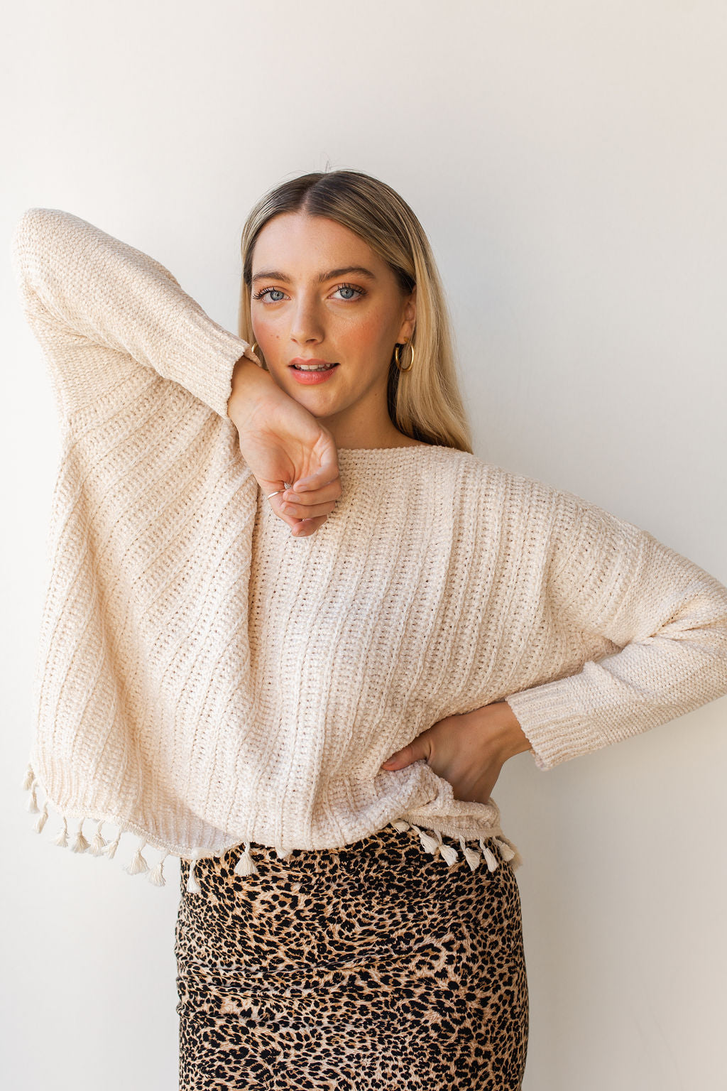 mode, tassel + scallop trim sweater