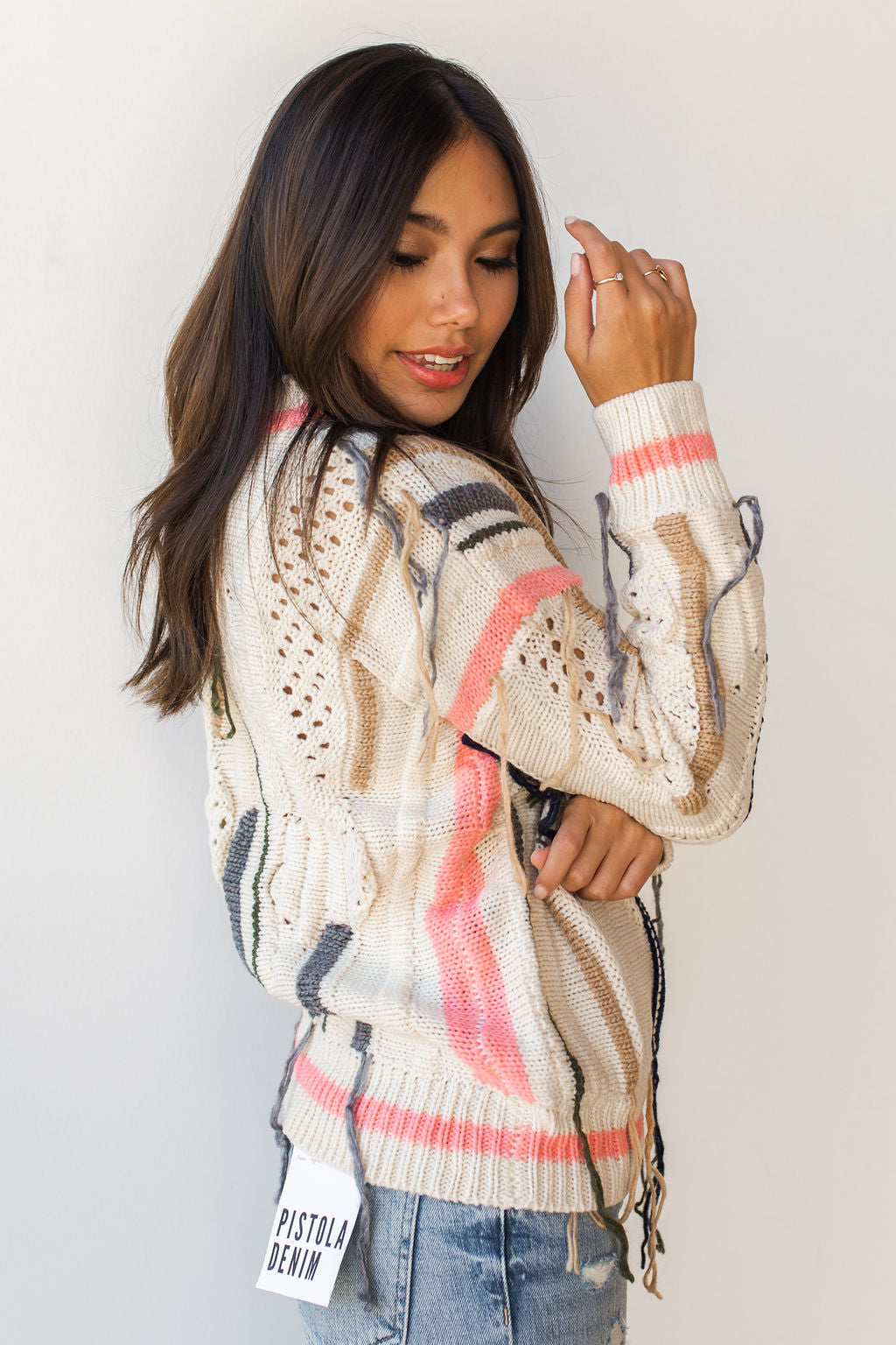 mode, free fall fringe sweater