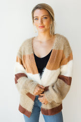 mode, fresh texture block striped cardi