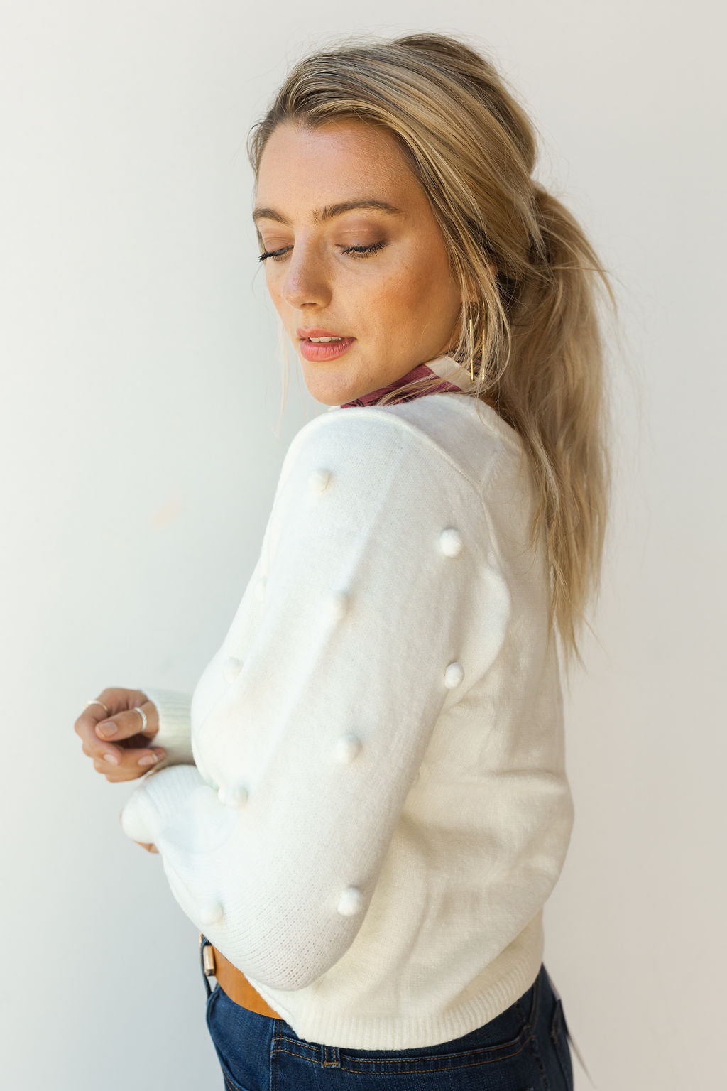 mode, pom pom knit sweater