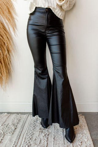 mode, hold on faux leather flares