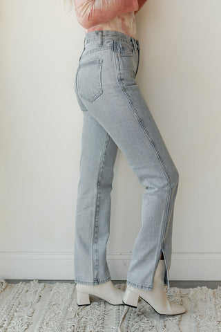 Shania high rise knee distress denim