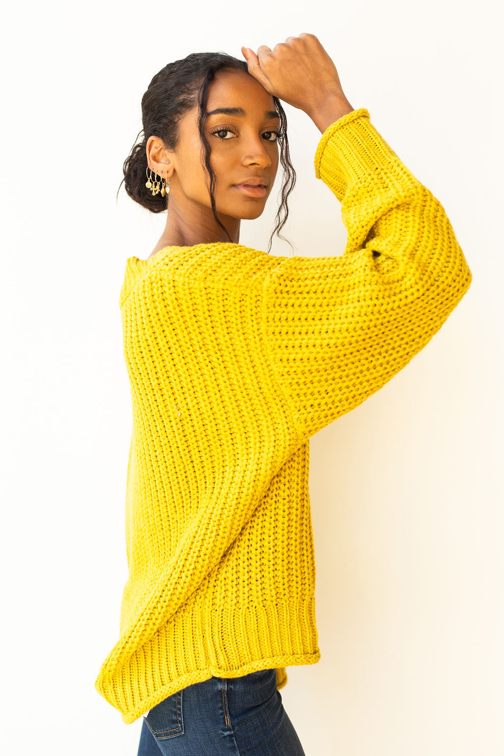 mode, lime slice sweater