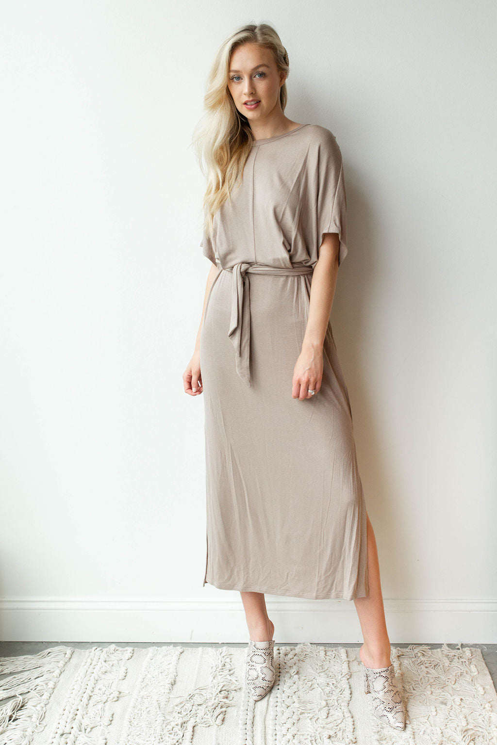 mode, never alone tie waist, side slit dress