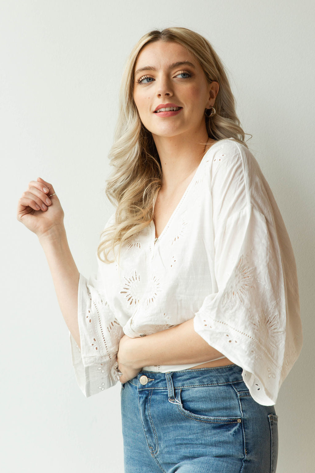 mode, angel fire embroidered blouse