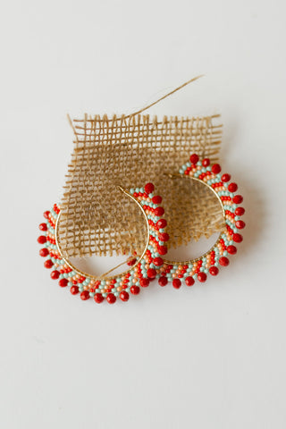 mode, red blaze hoop earring