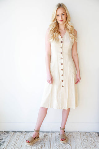 linen safari midi dress
