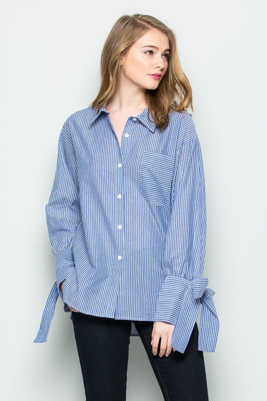 mode, mid stripe tie sleeve blouse