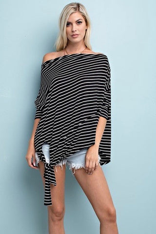 stripes side tie top