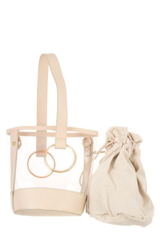 [shop name], clear bucket bag