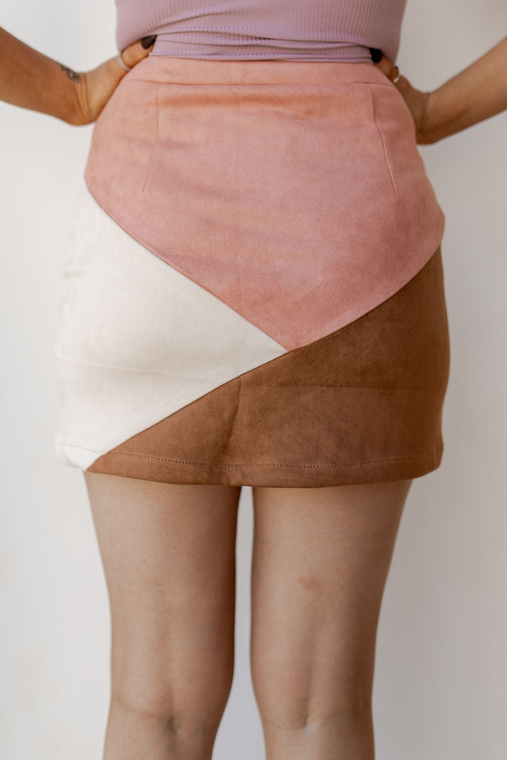 color blocked suede skirt