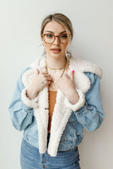 perry hooded denim jacket