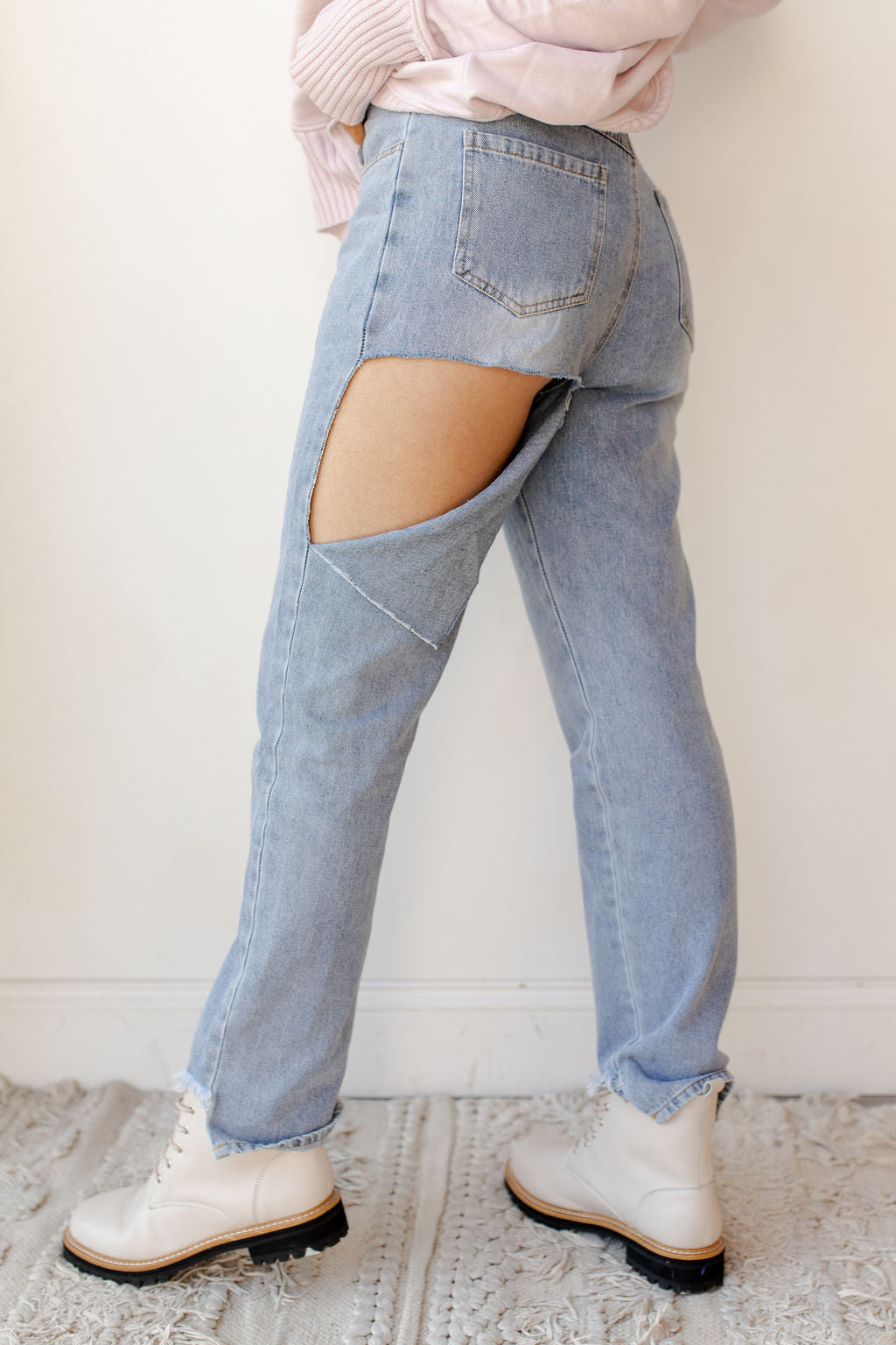 back cut frayed hem denim