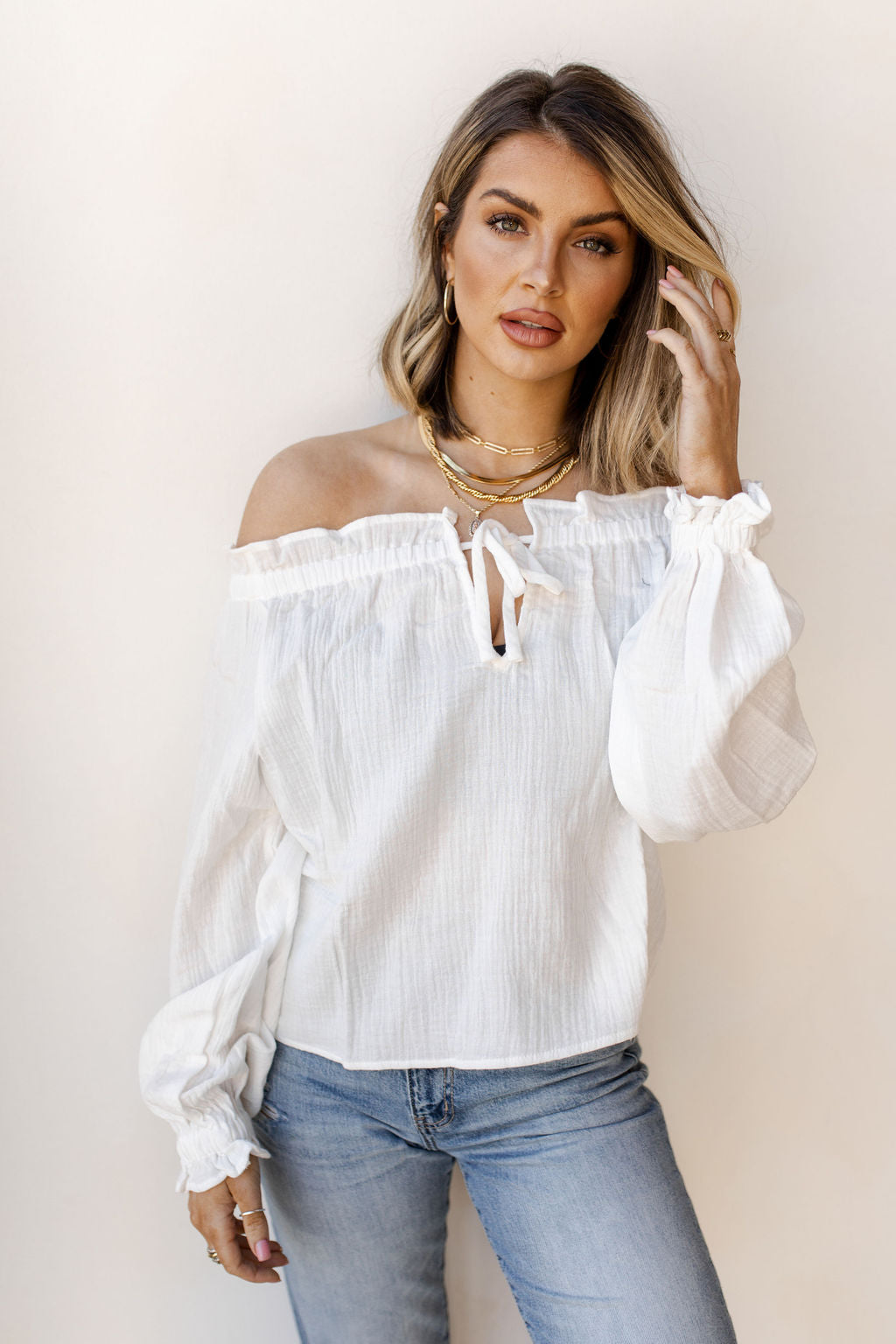 wide neck peasant top